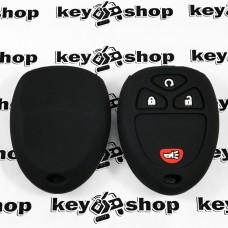 Чехол (черный, силиконовый) для выкидного ключа GMC, Hummer (ДжиЭмСи, Хаммер) 3 + 1 кнопки