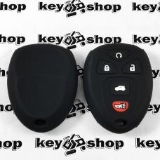 Чехол (черный, силиконовый) для выкидного ключа GMC, Hummer (ДжиЭмСи, Хаммер) 4 + 1 кнопки