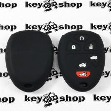 Чехол (черный, силиконовый) для выкидного ключа GMC, Hummer (ДжиЭмСи, Хаммер) 5 + 1 кнопки