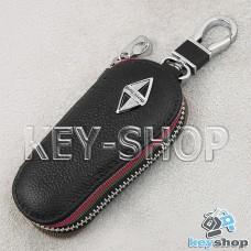 Ключница карманная (кожаная, черная, на молнии, с карабином, с кольцом), логотип авто Great Wall Borgward (Грейт Вол Боргвард)
