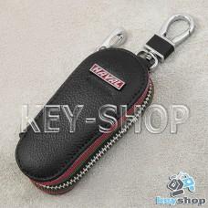 Ключница карманная (кожаная, черная, на молнии, с карабином, с кольцом), логотип авто Great Wall Haval (Грейт Вол Хавал)