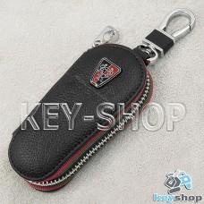 Ключница карманная (кожаная, черная, на молнии, с карабином, с кольцом), логотип авто Roeve (Роеве)