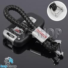 Кожаный плетеный (черный) брелок для авто ключей Haval (Хавал)