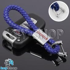 Кожаный плетеный (синий) брелок для авто ключей Haval (Хавал)