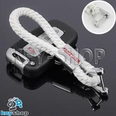 Кожаный плетеный (белый) брелок для авто ключей Haval (Хавал)