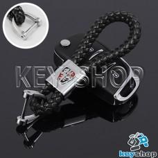 Кожаный плетеный (черный) брелок для авто ключей Roewe (Роеве)