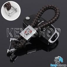 Кожаный плетеный (коричневый) брелок для авто ключей Roewe (Роеве)