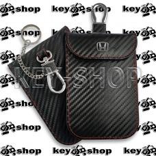 Чехол Фарадея, антисканер, противоугонный чехол Honda (Хонда) (кожаный, под карбон, черный, на липучке, с карабином, с кольцом)