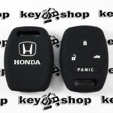 Чехол (черный, силиконовый) для авто ключа Honda (Хонда) 3 + 1 кнопки