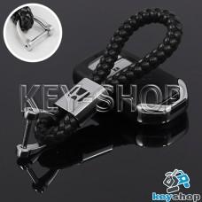 Кожаный плетеный (черный) брелок для авто ключей Хонда (Honda)
