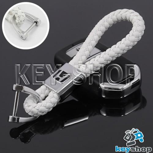 Кожаный плетеный (белый) брелок для авто ключей Хонда (Honda)