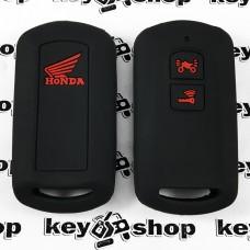 Чехол (черный, силиконовый) для мото ключа Honda (Хонда) 2 кнопки