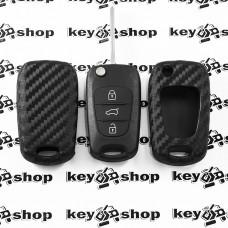 Чехол (силиконовый, под карбон) для выкидного ключа Hyundai (Хундай)