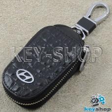 Ключница карманная (кожаная, черная, с тиснением, на молнии, с карабином, с кольцом), логотип авто Hyundai (Хундай)