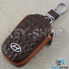 Ключница карманная (кожаная, коричневая, с тиснением, на молнии, с карабином, с кольцом), логотип авто Hyundai (Хундай)