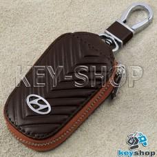 Ключница карманная (кожаная, коричневый, с тиснением, на молнии, с карабином, с кольцом), логотип авто Hyundai (Хундай)