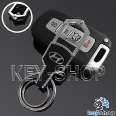 Металлический брелок для авто ключей Хундай (Hyundai) с карабином и кожаной вставкой