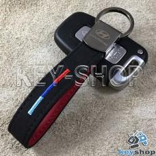 Кожаный замшевый (черный) брелок для авто ключей с логотипом Hyundai (Хюндай) и хромированным карабином