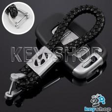 Кожаный плетеный (черный) брелок для авто ключей Хундай (Hyundai)
