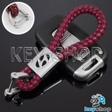 Кожаный плетеный (красный) брелок для авто ключей Хундай (Hyundai)
