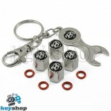 Набор колпачков для ниппеля (хромированные) с логотипом Hyundai (Хундай)