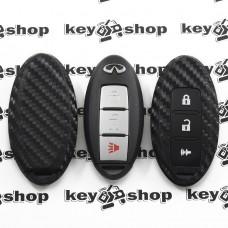 Чехол (силиконовый, под карбон) для смарт ключа Infiniti (Инфинити) 2 + 1 кнопки
