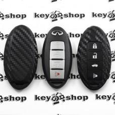Чехол (силиконовый, под карбон) для смарт ключа Infiniti (Инфинити) 3 + 1 кнопки