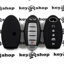 Чехол (черный, силиконовый) для смарт ключа Infiniti (Инфинити) 5 кнопок