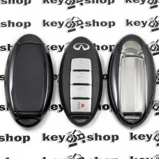 Чехол (черный, полиуретановый) для смарт ключа Infiniti (Инфинити), кнопки с защитой