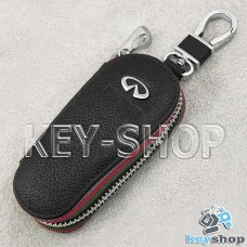 Ключница карманная (кожаная, черная, на молнии, с карабином, с кольцом), логотип авто Infiniti (Инфинити)