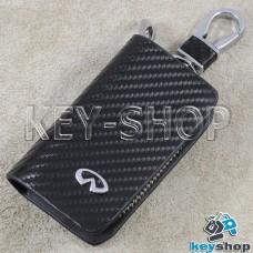 Ключница карманная (кожаная, черная, с тиснением под карбон, на молнии, с карабином, c кольцом), логотип авто Infiniti (Инфинити)