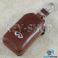 Ключница карманная (кожаная, коричневая, с карабином, на молнии, с кольцом), логотип авто Infiniti (Инфинити)