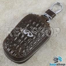 Ключница карманная (кожаная, коричневая, с тиснением, с карабином, на молнии, с кольцом), логотип авто Infiniti (Инфинити)