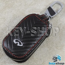 Ключница карманная (кожаная, черная, с тиснением, с карабином, на молнии, с кольцом), логотип авто Infiniti (Инфинити)