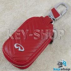 Ключница карманная (кожаная, красная, с тиснением, с карабином, на молнии, с кольцом), логотип авто Infiniti (Инфинити)