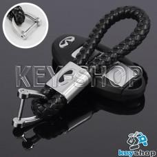 Кожаный плетеный (черный) брелок для авто ключей Infiniti (Инфинити)
