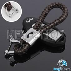 Кожаный плетеный (коричневый) брелок для авто ключей Infiniti (Инфинити)