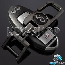 Брелок для ключа Infiniti (Инфинити), (темный хром), с карабином