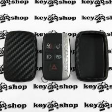 Чехол (силиконовый, под карбон) для смарт ключа Jaguar (Ягуар)