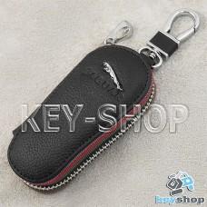 Ключница карманная (кожаная, черная, на молнии, с карабином, с кольцом), логотип авто Jaguar (Ягуар)