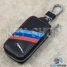 Ключница карманная (кожаная, черная, под карбон, на молнии, с карабином, с кольцом), логотип авто Jaguar (Ягуар)