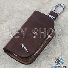 Ключница карманная (кожаная, коричневая, с узором, на молнии, с карабином, с кольцом), логотип авто Jaguar (Ягуар)