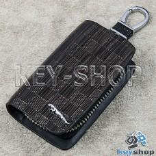 Ключница карманная (кожаная, коричневая, с тиснением, на молнии, с карабином, с кольцом), логотип авто Jaguar (Ягуар)