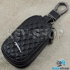 Ключница карманная (кожаная, черная, с тиснением, на молнии, с карабином, с кольцом), логотип авто Jaguar (Ягуар)
