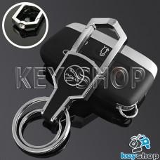 Металлический брелок для авто ключей Jaguar (Ягуар) с карабином и кожаной вставкой