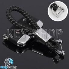 Кожаный плетеный (черный) брелок для авто ключей Jaguar (Ягуар)