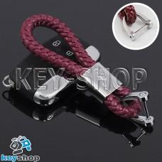 Кожаный плетеный (бордовый) брелок для авто ключей Jaguar (Ягуар)