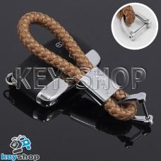 Кожаный плетеный (светло - коричневый) брелок для авто ключей Jaguar (Ягуар)