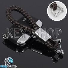 Кожаный плетеный (коричневый) брелок для авто ключей Jaguar (Ягуар)