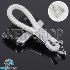 Кожаный плетеный (белый) брелок для авто ключей Jaguar (Ягуар)